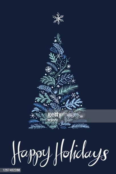 ハッピーホリデークリスマスツリーカード - クリスマスマーケット点のイラスト素材/クリップアート素材/マンガ素材/アイコン素材