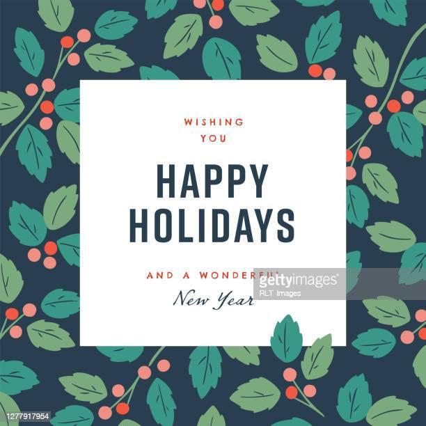 illustrations, cliparts, dessins animés et icônes de modèle de conception de joyeuses fêtes avec des graphiques botaniques d'hiver vectoriel dessinés à la main - saison