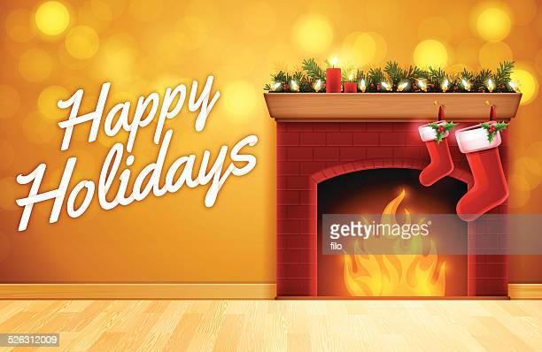 happy holidays fireplace - christmas decore candle stock illustrations