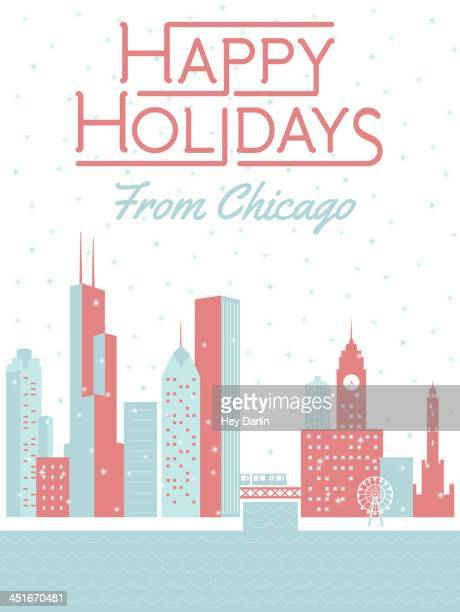 happy holidays from chicago - chicago stock illustrations, clip art, cartoons, & icons