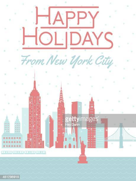 happy holidays from new york city - empire state building stock illustrations, clip art, cartoons, & icons