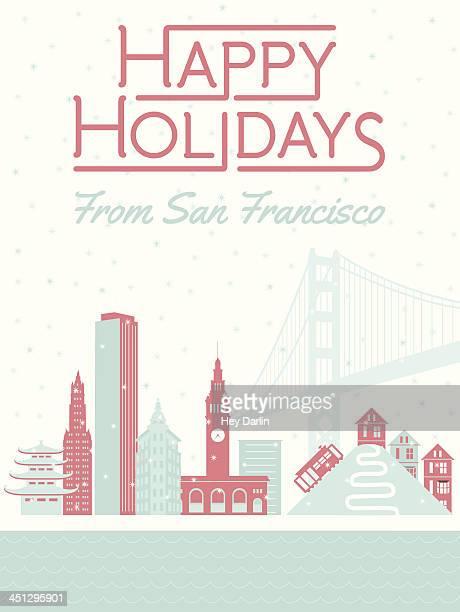 happy holidays from san francisco - lombard street san francisco stock illustrations