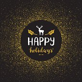 Happy holidays golden glitter