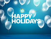 Happy holidays greeting card. Blue illuminated room with balloons and text. Vector