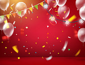 Happy holidays greeting card with confetti and balloons. Red illuminated room with balloons and text