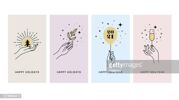 happy holidays greeting cards - champagne stock illustrations