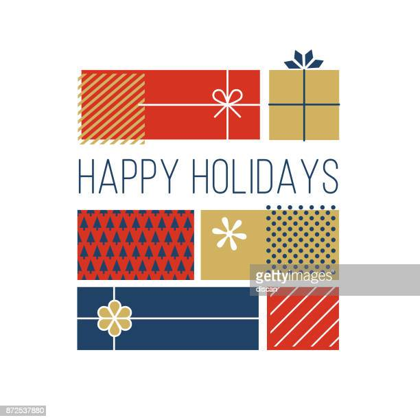 happy holidays greeting cards. - happy holidays stock illustrations, clip art, cartoons, & icons