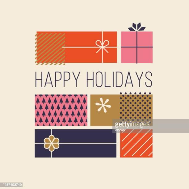 ilustraciones, imágenes clip art, dibujos animados e iconos de stock de tarjetas de felicitación de felices fiestas con cajas de regalo. - caja de regalo