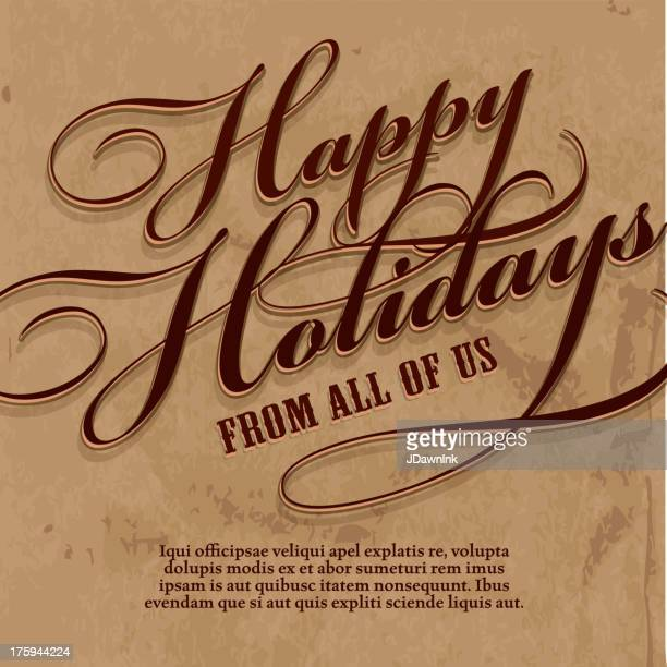 happy holidays greeting text design template - happy holidays stock illustrations, clip art, cartoons, & icons