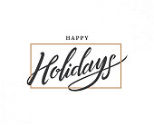 Happy holidays hand drawn lettering phrase