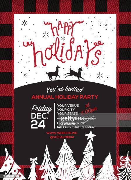 Happy Holidays  hand lettering greeting design template
