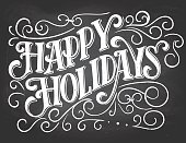 Happy holidays hand-lettering on chalkboard background