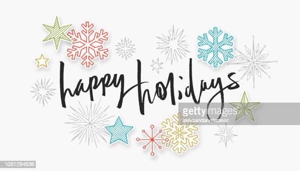 happy holidays handwritten card - national holiday stock illustrations, clip art, cartoons, & icons