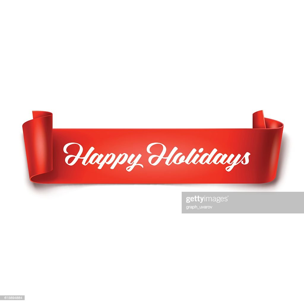 Happy Holidays inscription on red detailed curved ribbon
