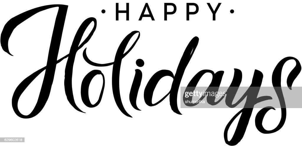 Happy Holidays. Merry Christmas Calligraphy Template. Greeting Card Black Typography