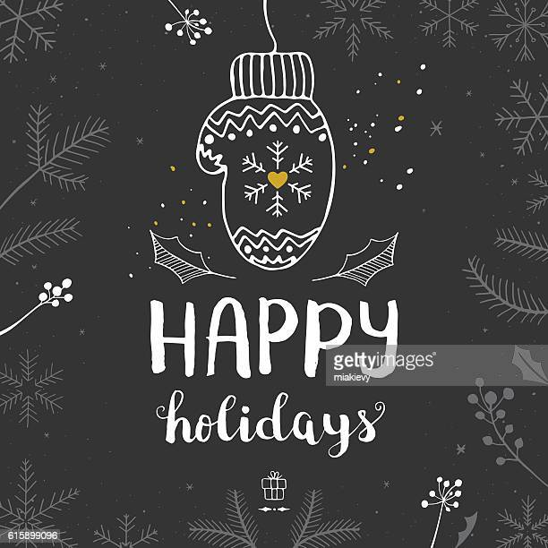 happy holidays mitten - happy holidays stock illustrations, clip art, cartoons, & icons