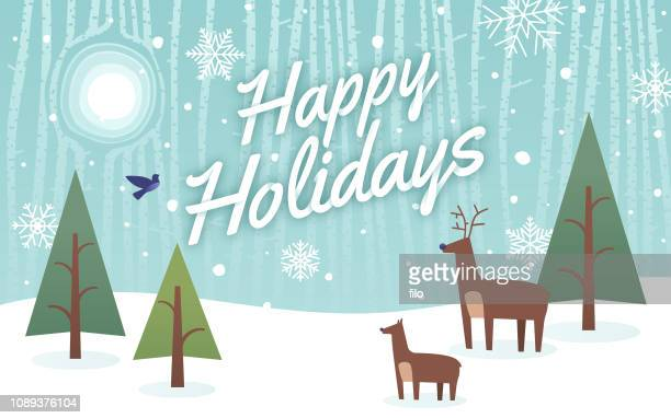 happy holidays reindeer background - blizzard stock illustrations