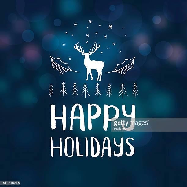 ilustraciones, imágenes clip art, dibujos animados e iconos de stock de happy holidays reindeer - frase corta