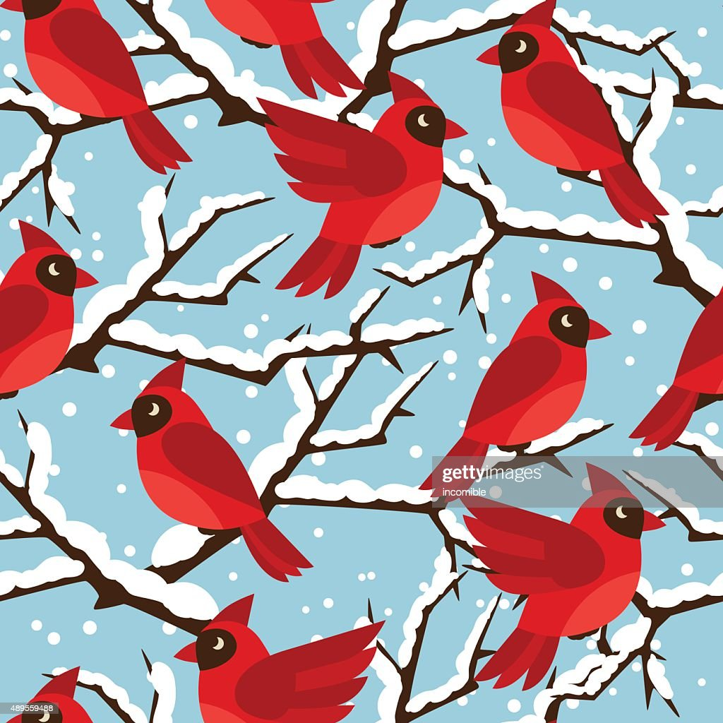 Happy holidays seamless pattern with birds red cardinal