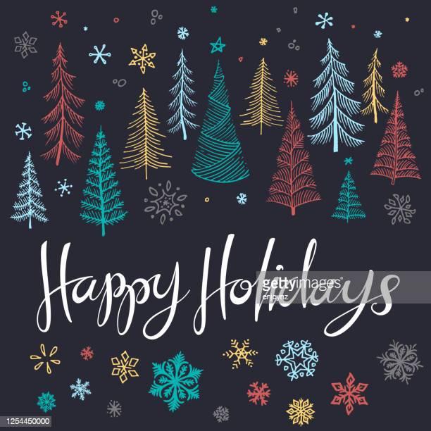 幸せな休日スケッチ木のイラスト - クリスマスマーケット点のイラスト素材/クリップアート素材/マンガ素材/アイコン素材