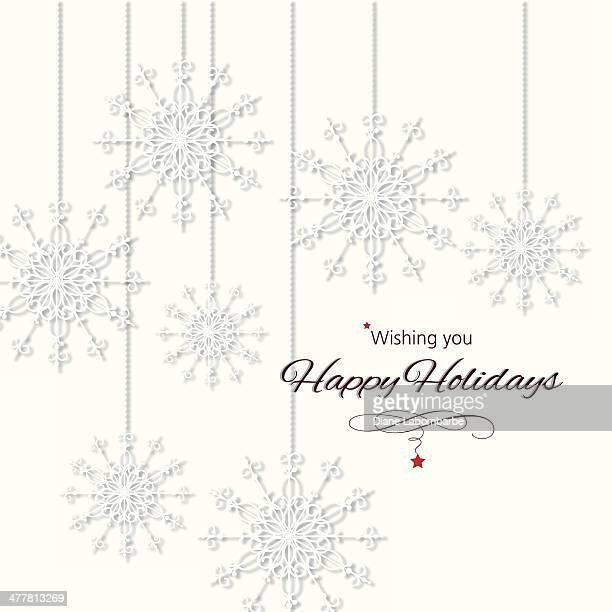 happy holidays snowflakes ornaments. - happy holidays stock illustrations, clip art, cartoons, & icons
