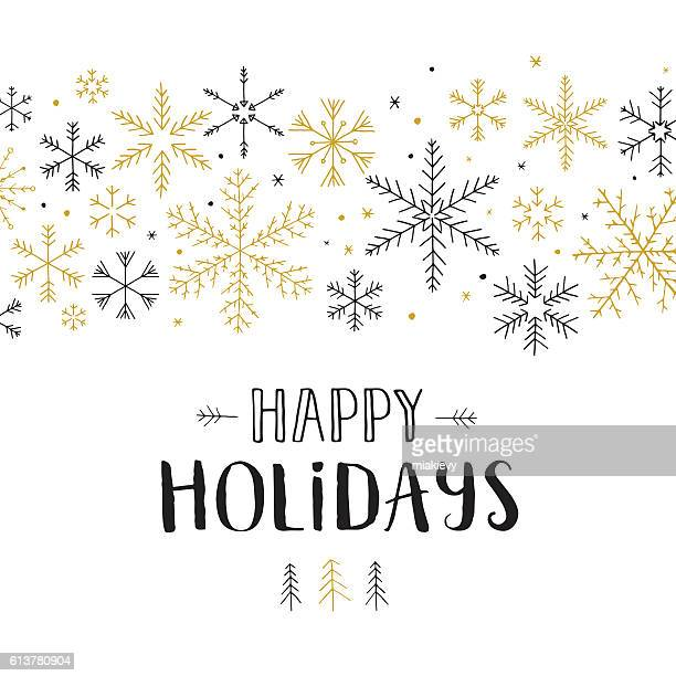 happy holidays snowflakes - happy holidays stock illustrations, clip art, cartoons, & icons
