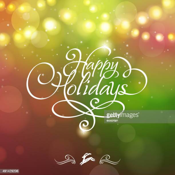 happy holidays starry background - happy holidays stock illustrations, clip art, cartoons, & icons
