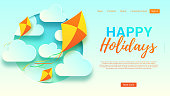Happy holidays web banner template