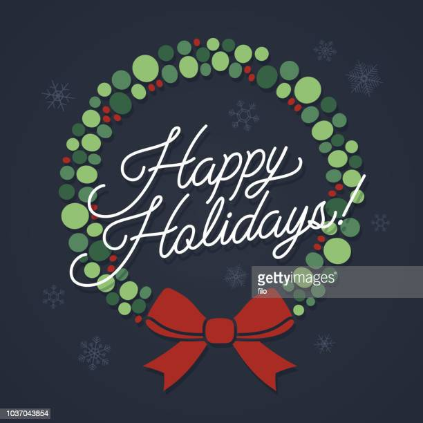 happy holidays wreath - happy holidays stock illustrations, clip art, cartoons, & icons
