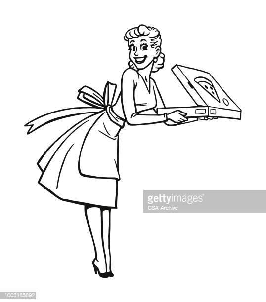 happy homemaker holding a pizza box - maid stock illustrations, clip art, cartoons, & icons