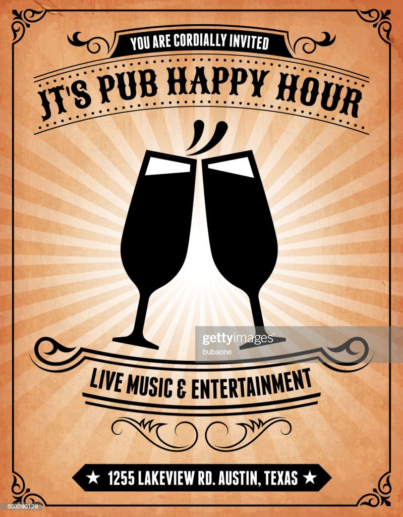 Happy Hour Bar Invitation on royalty free vector Background Poster
