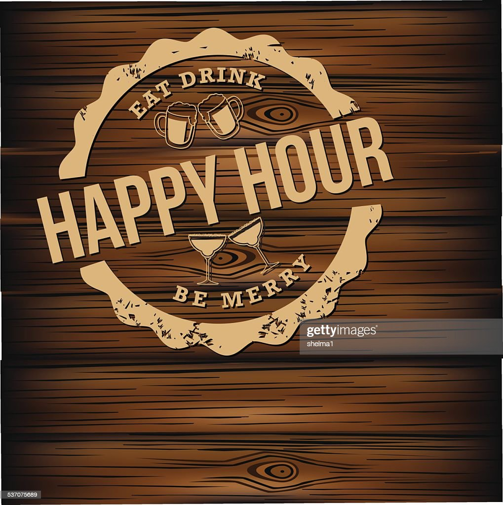 Happy hour carved wood background