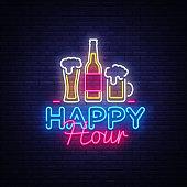 Happy Hour neon sign vector. Happy Hour Design template neon sign, Night Dinner, celebration light banner, neon signboard, nightly bright advertising, light inscription. Vector illustration