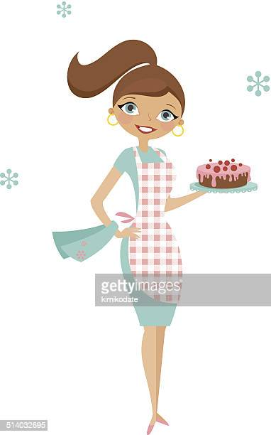 happy housewife with cake - making a cake stock illustrations, clip art, cartoons, & icons