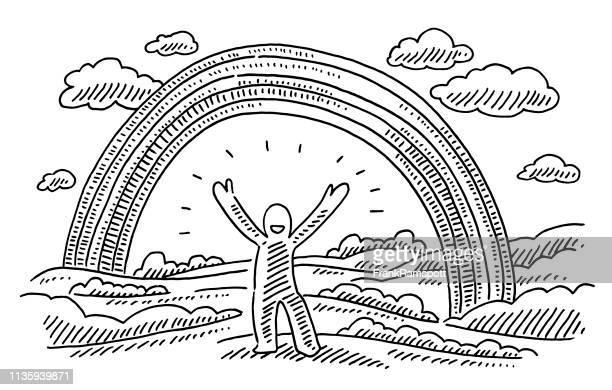 Glückliche menschliche Figur Regenbogenlandschaft Zeichnung