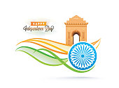 Happy Independence Day celebration concept with India Gate, Ashoka Wheel, waves and space for your text.