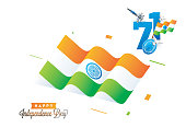 Happy Independence Day Celebration Concept with Indian Flag Waving and stylish text 71 years of Freedom on white background.