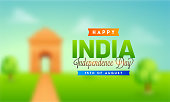 Happy Independence Day celebration poster, banner or flyer design with blur effect. Illustration of India Gate on background.