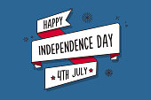 Happy independence day ribbon banner in retro style. 4th of July vector design