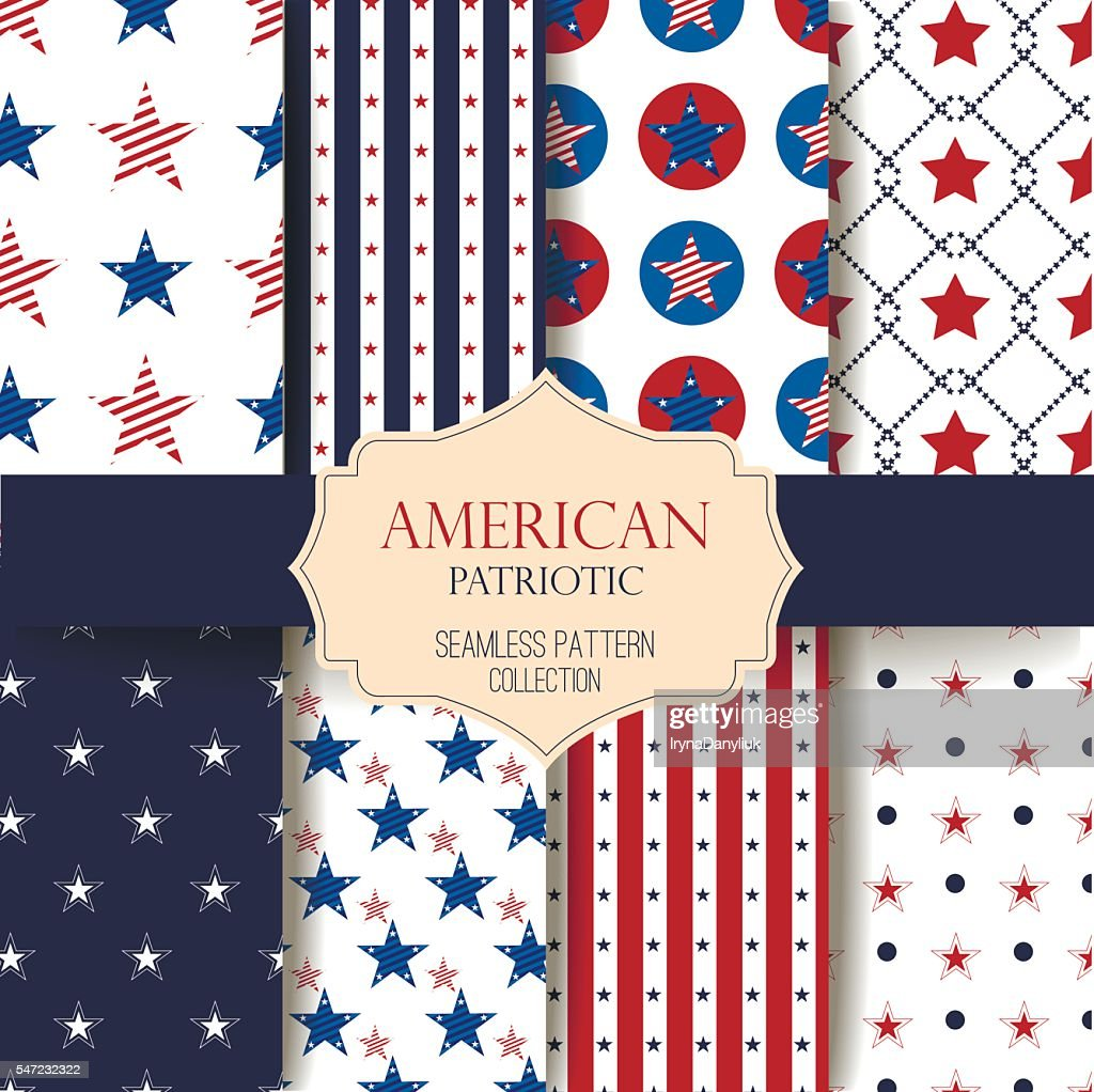 Happy Independence Day seamless pattern vector set.