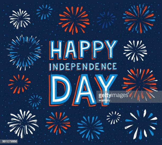 happy independence day with fireworks - independence day holiday stock illustrations