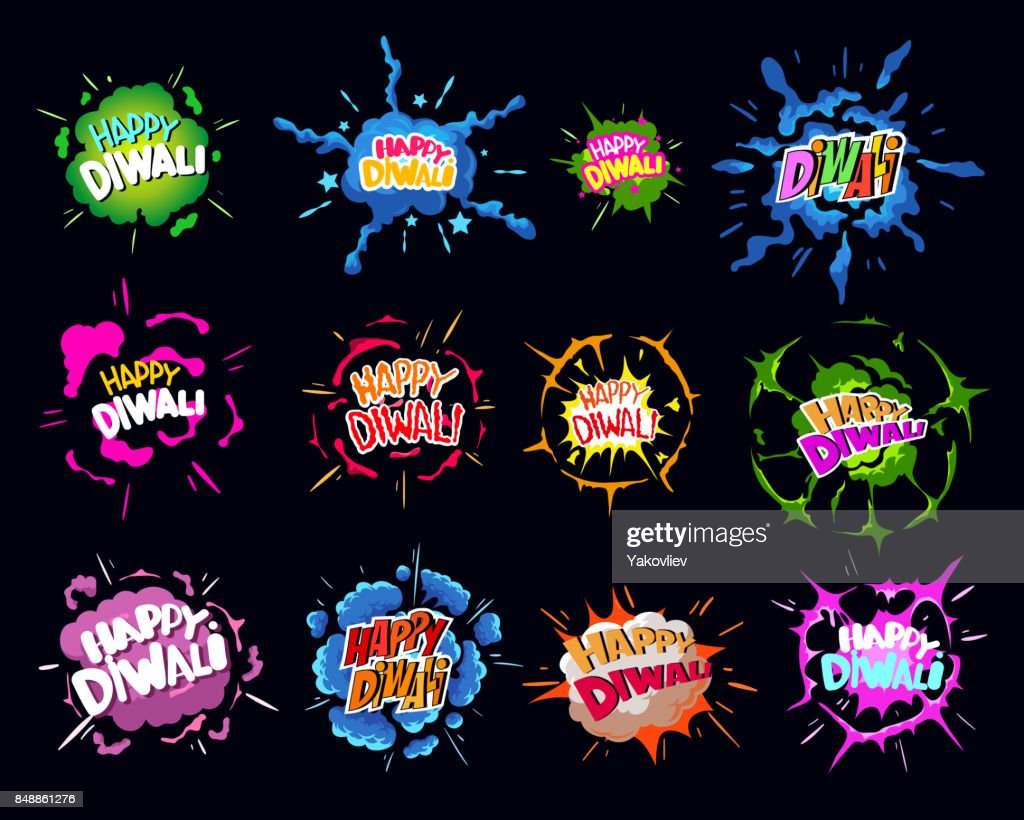 Happy Indian Diwali holiday. Comic book explosion Vector illustration.