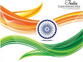 happy indian republic day abstract background with ashok chakra