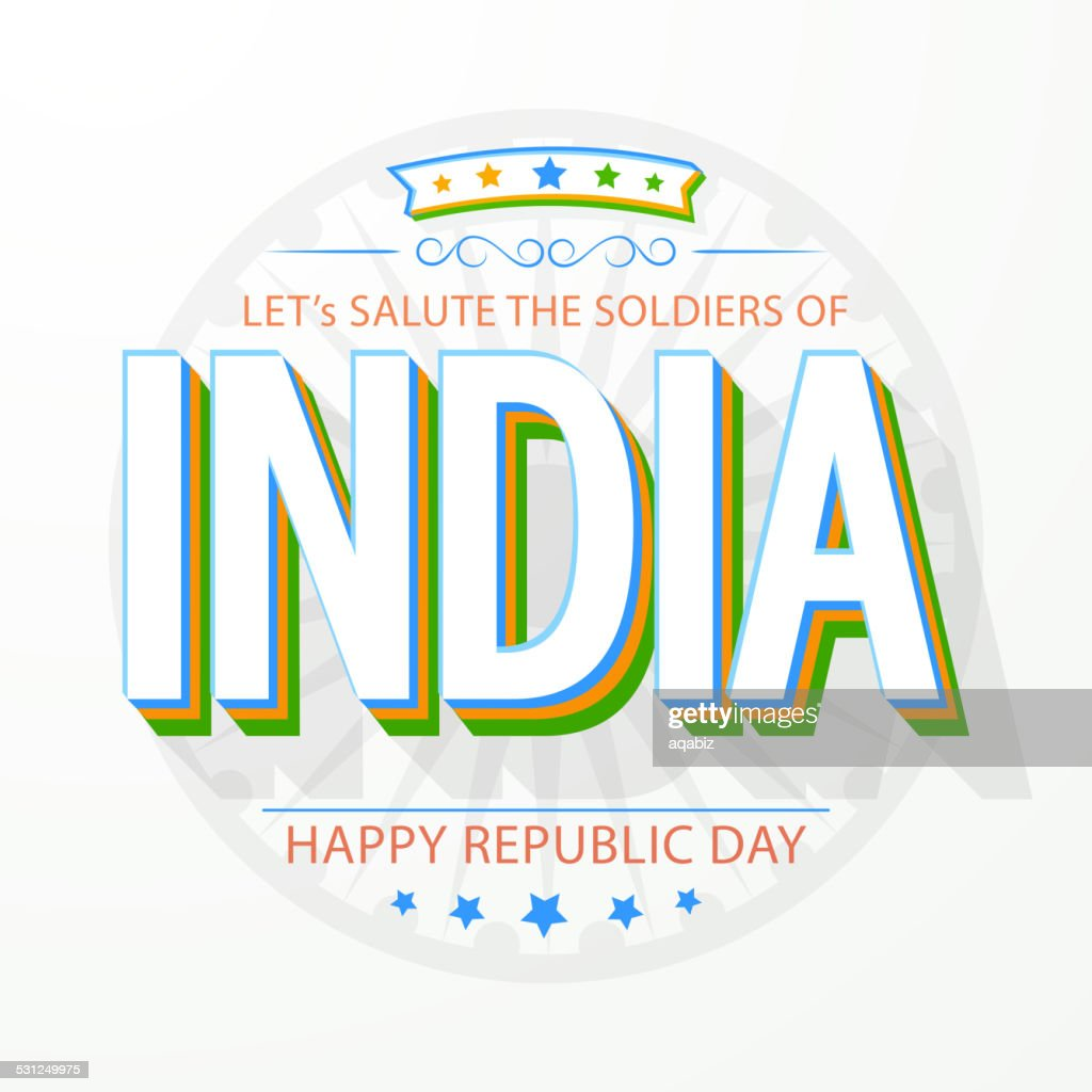 Happy Indian Republic Day celebration with 3D text.