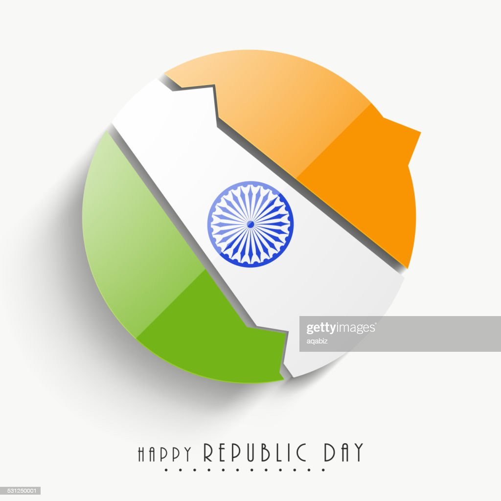 Happy Indian Republic Day celebration with stylish sticky.