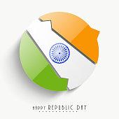 Happy Indian Republic Day celebration with stylish sticky.