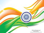 happy Indian republic day wave background with ashok chakra