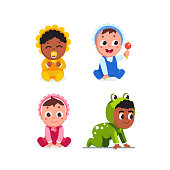Happy infant baby children sitting, crawling wearing romper, playing with rattle toy and sucking dummy. Toddlers cartoon characters set. Flat vector clipart illustration.