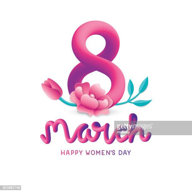 stockillustraties, clipart, cartoons en iconen met gelukkig internationale vrouwendag - internationale vrouwendag