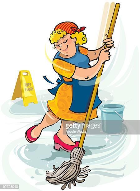 Janitor o houseproud mujer feliz